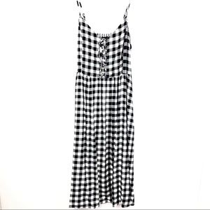 NEW LOOK Black/White Checkered Corset Front Dress